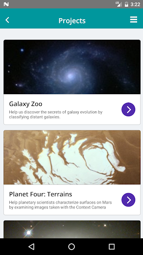 Screenshot 1 for Zooniverse's Android app'