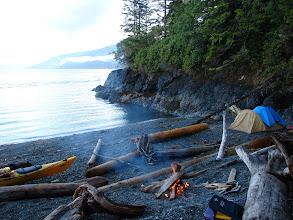 Photo: Beach camp looking across Robson Bight.