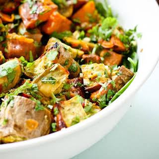 Kumara Salad with Coriander Lime Dressing.