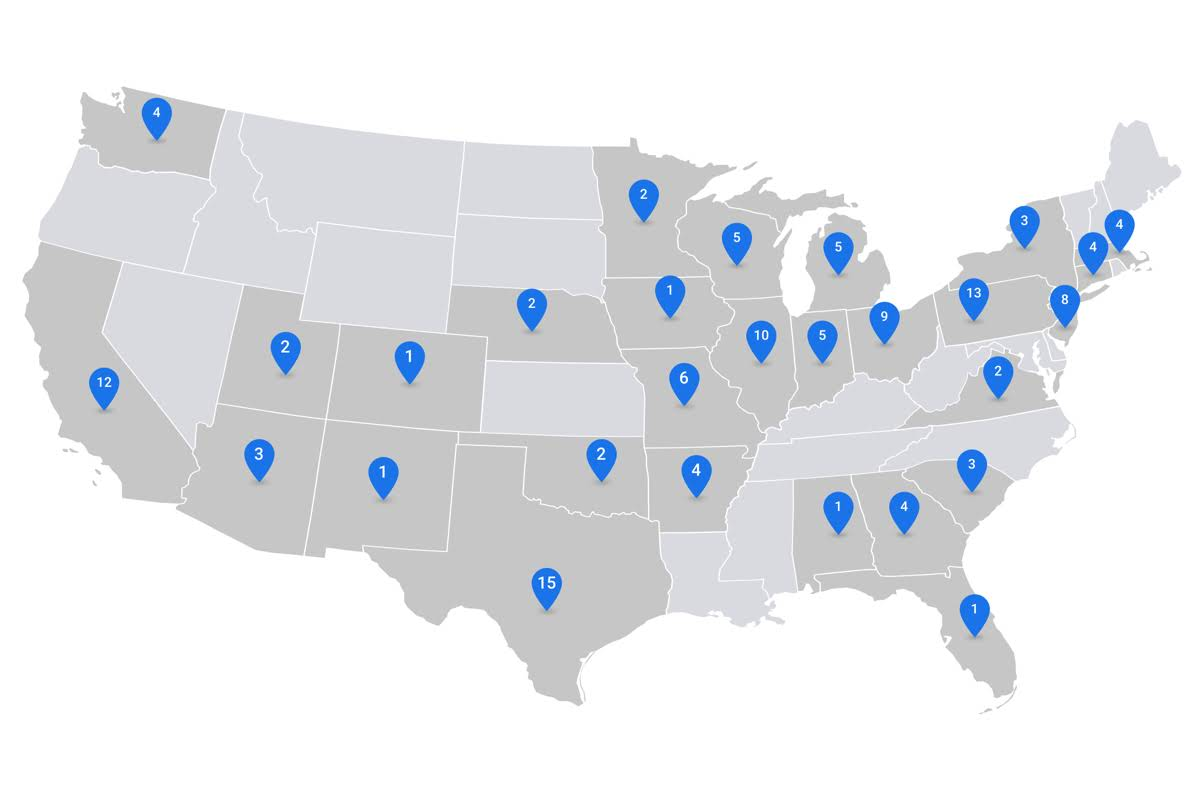 The map of the United States of America, with the selectors in each of the states where there is an educational center that makes use of the Google tools for Education.