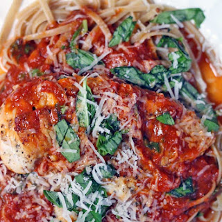 Chicken and Linguine with Tomato Basil Butter Sauce.