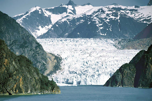 Glacier-Set-Between-Mountains.jpg - See Sawyer Glacier, at the end of the Tracy Arm fjord, on an American Cruise Lines sailing of Alaska's Inside Passage.