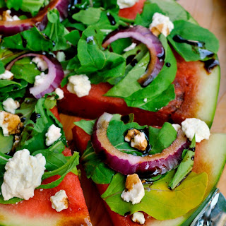Watermelon Salad with Balsamic Reduction.