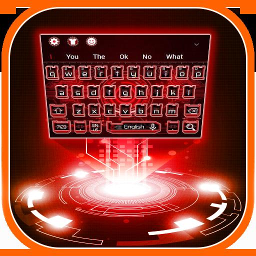 Neon Red Technology Keyboard Theme