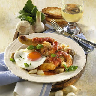 Chicken with Fried Eggs and Shrimp.