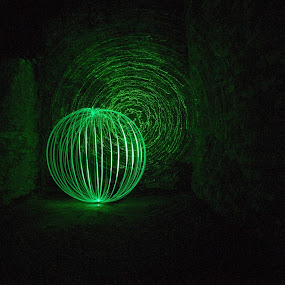 Backbarrow Iron Works Collab by Mark Airey - Abstract Light Painting ( light painting, siding, orb, backbarrow, green, iron works, long exposure, laser )
