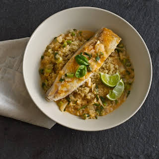 Halibut with Coconut-Red Curry Sauce.
