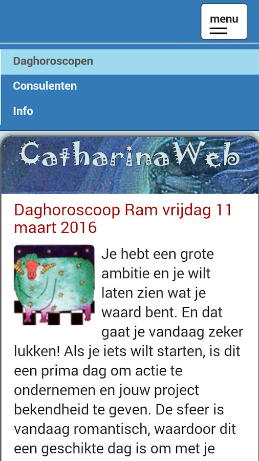 CatharinaWeb daghoroscoop- screenshot