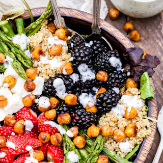 Berry, Asparagus, Quinoa and Feta Salad with Sweet Crispy Chickpeas.