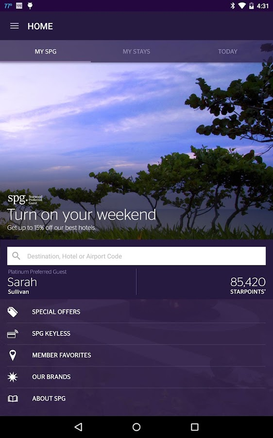 Spg Starwood Hotels Resorts Screenshot