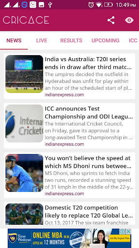 Cricace - Live Cricket Scores & News IPL 3.6 screenshots 1