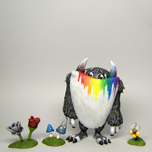 """Photo: """"Hugh, the Chromavore""""  Available at http://infiniterabbits.storenvy.com/  Big resin 5"""" Mirth and his flower from Triplikid, plus I made a few extra flowers/shrooms to add a little more color to his diet."""
