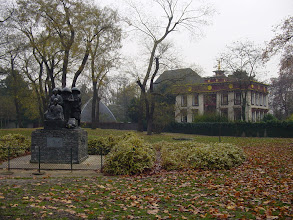 Photo: Near the lake is an Asian area, which includes a large Buddhist temple (roof in the background) and a Japanese building closer. The sculpture in the foreground by a noted Japanese artist was presented as a token of Franco-Japanese friendship. It is titled Les Pelerins des Nuages et de L'Eau – Pilgrims of Clouds and Water – presumably a reference to the central Zen and Buddhist tenet of the impermanence of all things.