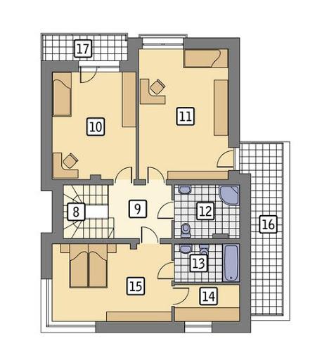 Attykowy (z wentylacją mechaniczną) - EC351 - Rzut piętra