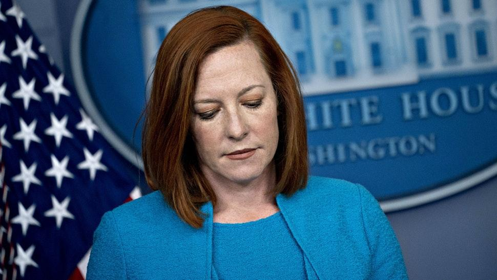 Jen Psaki, White House press secretary, pauses during a news conference in the James S. Brady Press Briefing Room at the White House in Washington, D.C., U.S., on Monday, March 22, 2021.