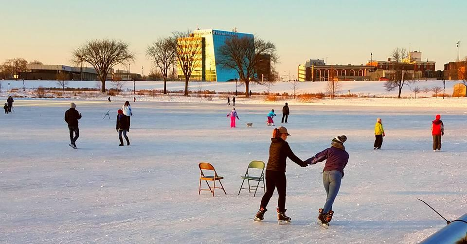 Residents skating on the open ice at Lake George, St. Cloud, MN; taken by Dawn Holler