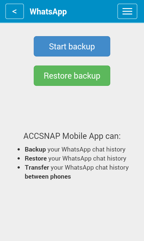 ACCSNAP - Backup for Mobiles- screenshot