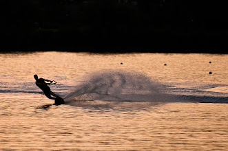 Photo: Water skiing at dusk