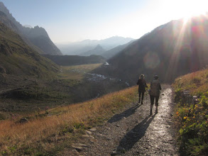Photo: The next morning we're off early. We'll descend into the valley and then hike along the ridge on the right.