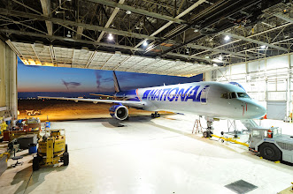 Photo: A National Airlines Boeing 757-200 passenger jet parked at the airline's hangar adjacent to its headquarters at Willow Run Airport (YIP).  CREDIT: Jeff Ellis/Wayne County Airport Authority.
