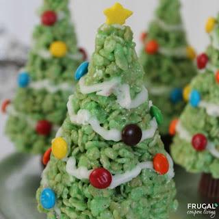 Christmas Tree Rice Krispie Treats - Holiday Kids Food Craft.
