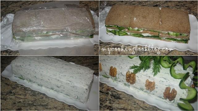 Солена торта с краставици и крема сирене
