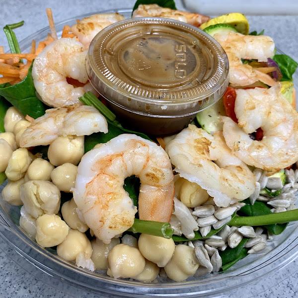 Shrimp grain bowl healthy & delicious real good food at La La Bistro sandwich shop 1000 Park Blvd, Massapequa Park, NY. Take out, delivery and catering  call 516-590-7230.