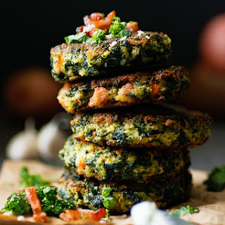 Oven Baked Kale and Bacon Cakes.