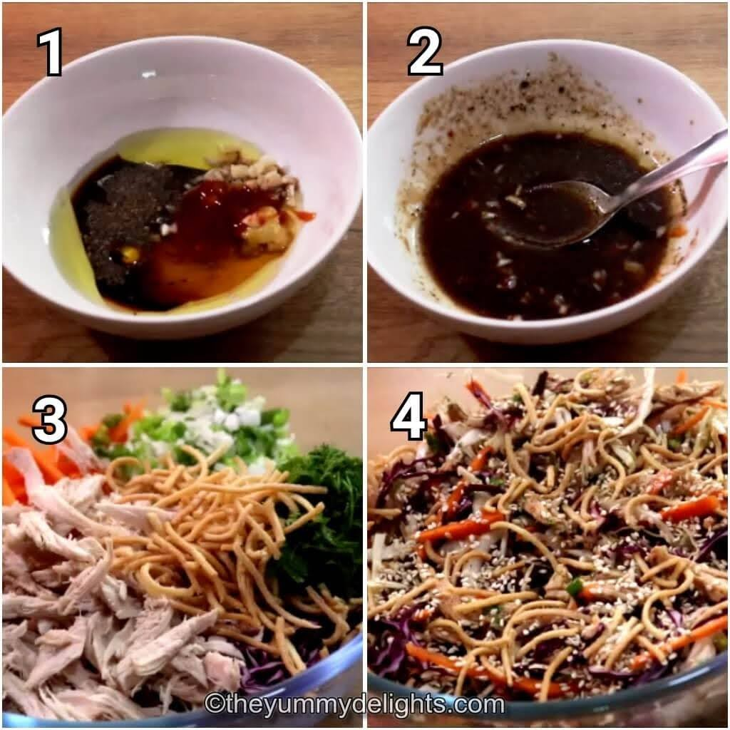 step by step image collage of preparing the Asian dressing and making chinese chicken salad
