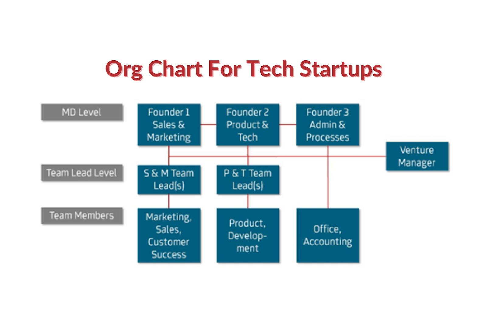 Org chart for tech startups