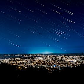 Falling stars over Oslo by Patrick Janson - Landscapes Starscapes ( startrail, stars, oslo, cityscape, city, norway )