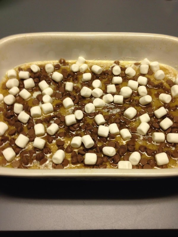 Now top with the chocolate chips and lastly the marshmallows. Bake approximately 15 minutes...
