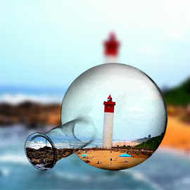 Lighthouse by Vijay Govender - Digital Art Places ( digital, coastline, lighthouse, beach, south africa )