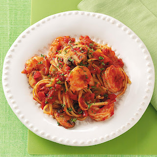 Spicy Shrimp & Peppers with Pasta.