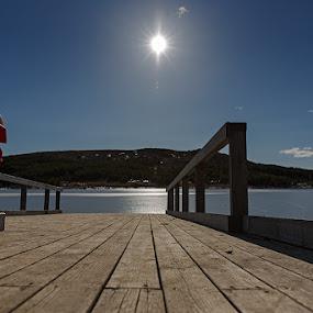 The pier by Bragi Kort - Landscapes Weather ( iceland, noon, lake, hvaleyarvatn, sun )