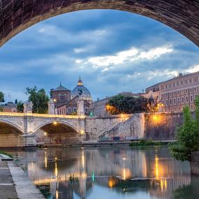 Under The Bridge by David Marjanovic - City,  Street & Park  Historic Districts ( clouds, lights, sky, frame, rome, sunset, cityscape, bridges, italy, historic, city )