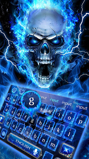 Blue Fire Skull Keyboard 10001015 screenshots 1
