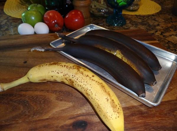 Bake your bananas. Put them on a small metal pan and bake them at...