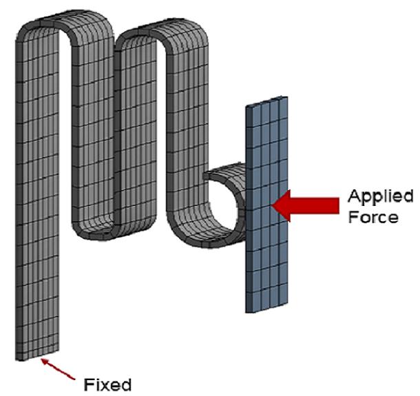 ANSYS Плоская пружина сжимается абсолютно жесткой плитой