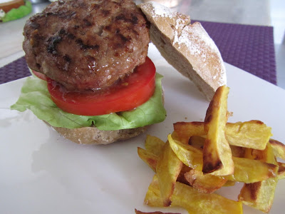 Chefs Ramsay Hamburger and Sweet Potato Fries