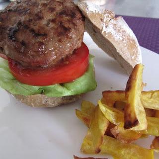 Chef's Ramsay Hamburger and Sweet Potato Fries.