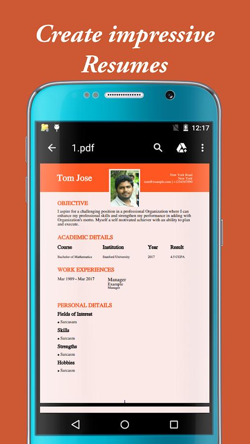 my resume builder cv for free professional jobs screenshot - Resumes Builder