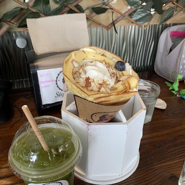 NY Blueberry cheesecake and Matcha Tea