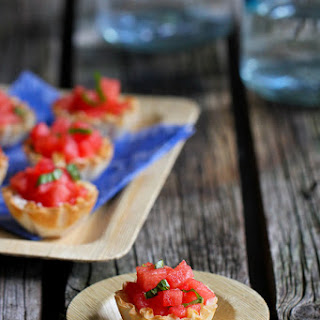 Watermelon, Goat Cheese & Basil Phyllo Bites.