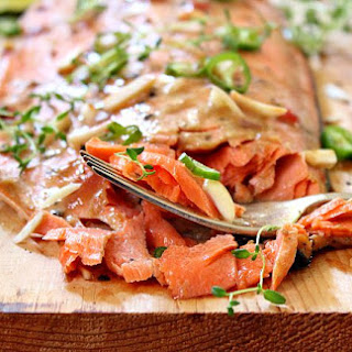 Cedar Plank Salmon with Asian Plum Sauce.