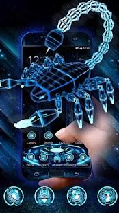 3D Neon Scorpion Robot Skull Theme - náhled