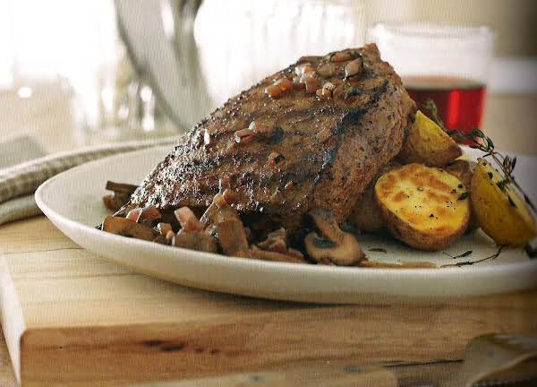 Flat Iron Steak With Sautéed Mushrooms Recipe