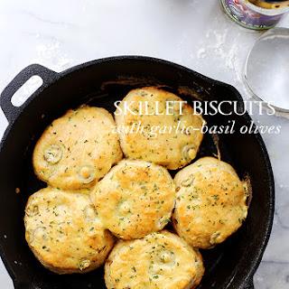 Skillet Biscuits with Garlic-Basil Olives Recipe