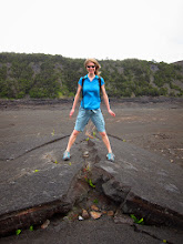 Photo: Hol astride a crack in once flowing lava.