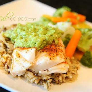 Fish (Pacific Cod) & Avocado Sauce.